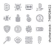 set of vector bitcoin line... | Shutterstock .eps vector #748928422
