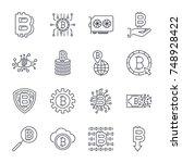 set of vector bitcoin line... | Shutterstock .eps vector #748928422
