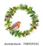 Christmas Wreath With Robin...