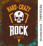 vintage hard and crazy rock... | Shutterstock .eps vector #748930186
