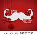 vector modern christmas or 2018 ... | Shutterstock .eps vector #748932358
