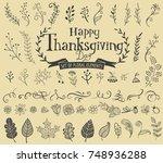 thanksgiving design elements... | Shutterstock .eps vector #748936288