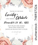 vector floral wedding... | Shutterstock .eps vector #748937326