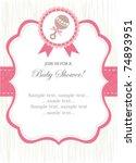 girl rattle shower invitation | Shutterstock .eps vector #74893951