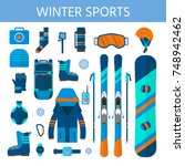 winter sport icons collection.... | Shutterstock .eps vector #748942462