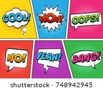 retro comic speech bubbles set...   Shutterstock .eps vector #748942945