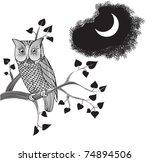 Moonlight Owl  Doodle