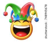 Jester Emoji Isolated On White...