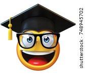 emoji graduate student isolated ... | Shutterstock . vector #748945702