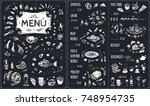 menu   food icons white chalk... | Shutterstock .eps vector #748954735