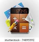 vector calculator xxl detailed... | Shutterstock .eps vector #74895592