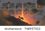 sci fi scenery of man and horse ... | Shutterstock . vector #748957522