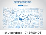 deep learning concept with... | Shutterstock .eps vector #748960405