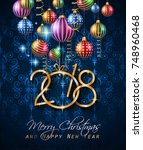 2018 happy new year background... | Shutterstock .eps vector #748960468