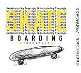 skateboarding textile graphic t ... | Shutterstock .eps vector #748965622