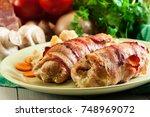 chicken breast stuffed with... | Shutterstock . vector #748969072