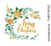 christmas floral decoration... | Shutterstock .eps vector #748976542
