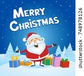santa claus giving christmas...   Shutterstock .eps vector #748978126