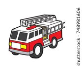 fire engine vector cartoon | Shutterstock .eps vector #748981606