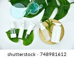 cosmetic bottle containers with ... | Shutterstock . vector #748981612