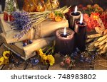 three black candles  lavender... | Shutterstock . vector #748983802