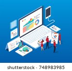 isometric team discussion | Shutterstock .eps vector #748983985