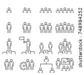 people icons line work group... | Shutterstock .eps vector #748984252