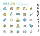 collection of winter thin line... | Shutterstock .eps vector #748991302