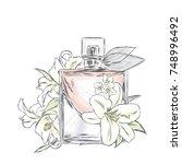 perfume bottle and flowers.... | Shutterstock .eps vector #748996492