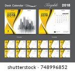 set desk calendar 2018 template ... | Shutterstock .eps vector #748996852