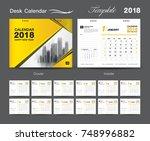 set desk calendar 2018 template ... | Shutterstock .eps vector #748996882