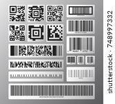 barcode and qr code set.... | Shutterstock .eps vector #748997332