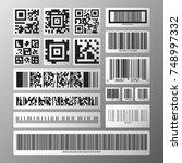 barcode and qr code set.... | Shutterstock .eps vector #748997332