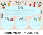 hand drawn weekly list... | Shutterstock .eps vector #749003446