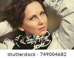 beautiful fashion woman in... | Shutterstock . vector #749004682