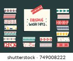 christmas washi tapes... | Shutterstock .eps vector #749008222