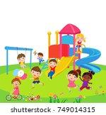 children playing outside | Shutterstock .eps vector #749014315