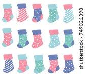 christmas pastel color socks... | Shutterstock .eps vector #749021398
