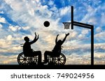 two disabled people play... | Shutterstock . vector #749024956