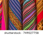 textiles and rugs for sale on... | Shutterstock . vector #749027758