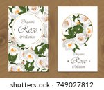 postcard with roses on wooden...   Shutterstock .eps vector #749027812