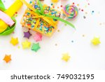 bright gifts for a party ... | Shutterstock . vector #749032195