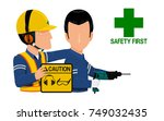 a worker is warning his friend...   Shutterstock .eps vector #749032435
