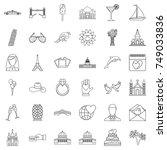 romance icons set. outline... | Shutterstock .eps vector #749033836