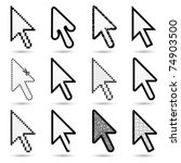 arrow cursors  hand cursors in... | Shutterstock .eps vector #74903500