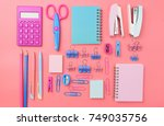 stationary concept  flat lay...   Shutterstock . vector #749035756