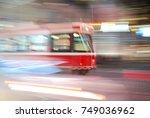 ttc streetcar at night at... | Shutterstock . vector #749036962