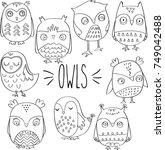 owls hand sketch outline | Shutterstock .eps vector #749042488