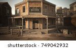 western town saloon with...