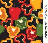 seamless bell pepper slice... | Shutterstock .eps vector #749049472